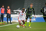 Mk Dons Ike Ugbo (27) is fouled by Bristol Rovers Joe Partington (22) during the EFL Sky Bet League 1 match between Milton Keynes Dons and Bristol Rovers at stadium:mk, Milton Keynes, England on 3 March 2018. Picture by Nigel Cole.