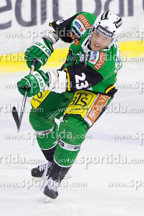25.01.2013, Hala Tivoli, Ljubljana, SLO, EBEL, HDD Telemach Olimpija Ljubljana vs EC Red Bull Salzburg, 2. Qualifikationsrunde, in picture Damjan Dervaric (HDD Telemach Olimpija, #23) during the Erste Bank Icehockey League 2nd Qualification Round match between HDD Telemach Olimpija Ljubljana and EC Red Bull Salzburg at the Hala Tivoli, Ljubljana, Slovenia on 2013/01/25. (Photo By Matic Klansek Velej / Sportida)