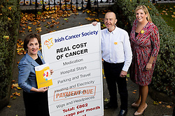 Repro Free: Dublin: 05/10/2105 Kathleen O&rsquo;Meara, Head of Advocacy and Communications at the Irish Cancer Society is pictured with Cancer Survivour John Langton and Alison Grainger, Senior Medical Social Worker at St James&rsquo;s Hospital at the launch of the Irish Cancer Society&rsquo;s report of an in-depth survey called &lsquo;The Real Cost of Cancer&rsquo;. The research, which carried out by Millward Brown, shows that many cancer patients and their families face a financial crisis while they are going through their treatment. A large number of patients face a severe drop in income while at the same time running up extra bills on a range of items. <br /> The average extra spend per month for a cancer patient, even those with a medical card or private health insurance, is &euro;862, according to the survey, while those who cannot work, work less or lose income as a result of having cancer face an income drop averaging &euro;1,400 a month, or &euro;16,750 per year. Picture Andres Poveda<br /> Ends<br /> For media information:<br /> &Oacute;rla Sheils<br /> Communications Officer, Irish Cancer Society<br /> T: 01 231 0559 / 087 645 3867