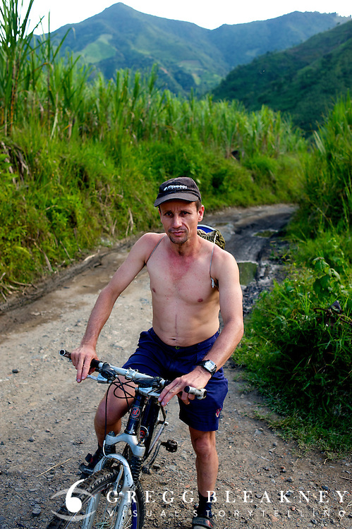 The coal miner biker commuting home from work - Colombia