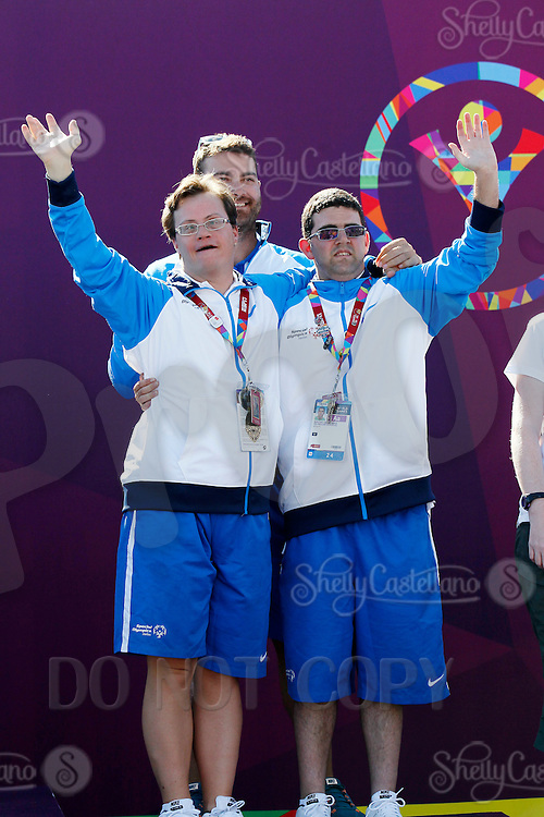 1 August 2015: Special Olympic World Games Los Angeles Sailing Finals in Long Beach, California. Cal 20's team Greece third place bronze medal winners #50 Nikitas Geramanis, #51 Loannis, Stratigopoulos and United Partner Konstantinos Asvestaris on the winners podium.