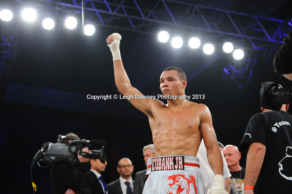 Chris Eubank Jnr celebrates after defeating Frankie Borg  by way of knock out in a Middleweight contest. Glow, Bluewater, Kent, UK. Hennessy Sports © Leigh Dawney Photography 2013.