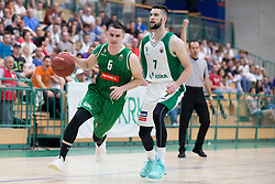 Jan Span of KK Petrol Olimpija Ljubljana and Tim Osolnik of KK Krka during basketball match between KK Krka Novo mesto and  KK Petrol Olimpija in 2nd Final game of Liga Nova KBM za prvaka 2017/18, on May 22, 2018 in Sports hall Leona Stuklja, Novo mesto, Slovenia. Photo by Urban Urbanc / Sportida