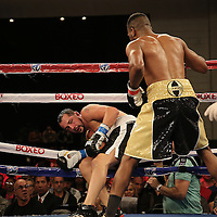KISSIMMEE, FL - MARCH 06:  Robert Burwell (L) falls through the ropes after a punch by Nathaniel Gallimore during the Telemundo Boxeo boxing match at the Kissimmee Civic Center on March 6, 2015 in Kissimmee, Florida. Gallimore won the bout by TKO.  (Photo by Alex Menendez/Getty Images) *** Local Caption *** Nathaniel Gallimore; Robert Burwell