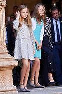 Crown Princess Leonor, Princess Sofia leave the Cathedral of Palma de Mallorca after Easter Mass on April 1, 2018 in Palma de Mallorca, Spain