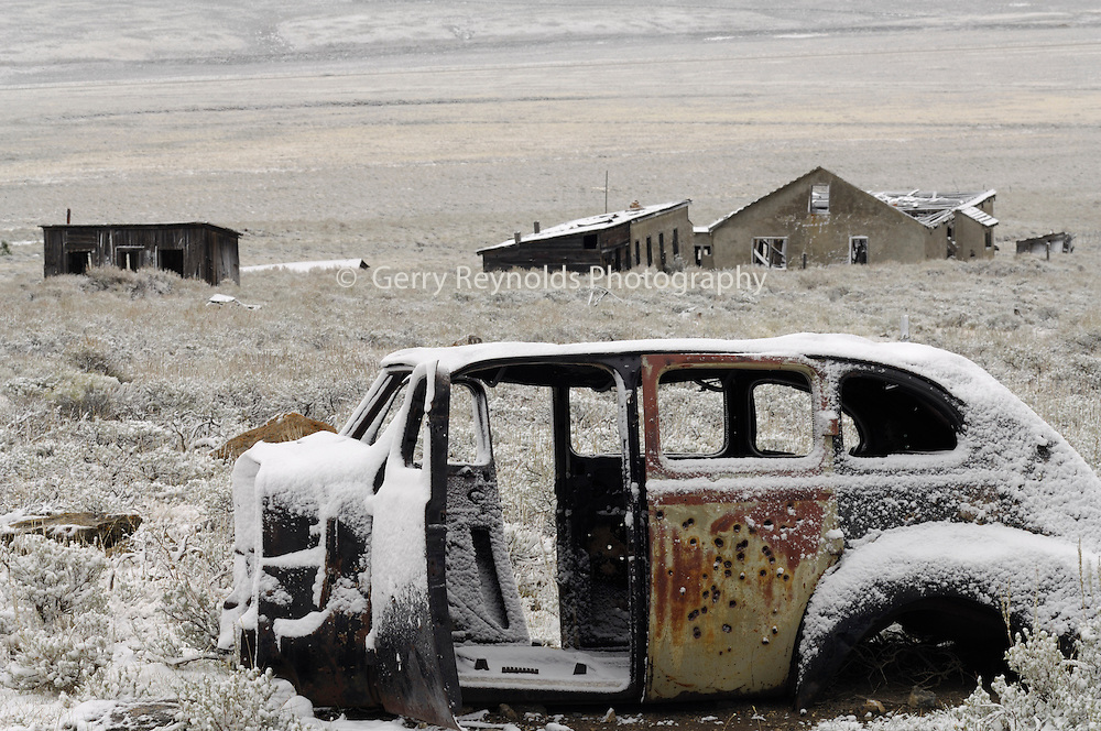 Old Car, Car, Abandoned Car, Abandoned Vehicle, Buildings, Ghost Town, Winter, Gilmore, Idaho