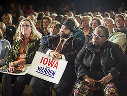 May 3, 2019 - Ames, Iowa, U.S - People at Iowa State University in Ames listen to Sen. Warren during a campaign appearance. About 400 people attended the event. Sen. Warren is campaigning in Iowa Friday and Saturday to promote her bid to be the Democratic candidate for the US Presidency. Iowa traditionally hosts the the first selection event of the presidential election cycle. The Iowa Caucuses will be on Feb. 3, 2020. (Credit Image: © Jack Kurtz/ZUMA Wire)