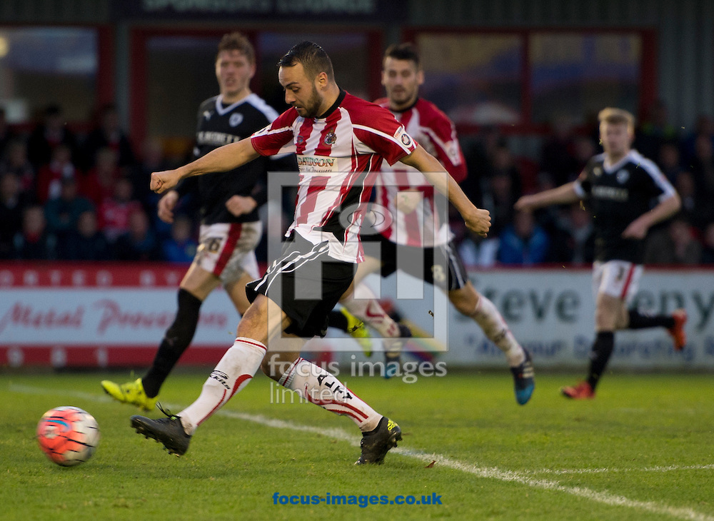 Ryan Crowther of Altrincham shoots at goal during the FA Cup match at Moss Lane, Altrincham<br /> Picture by Russell Hart/Focus Images Ltd 07791 688 420<br /> 07/11/2015