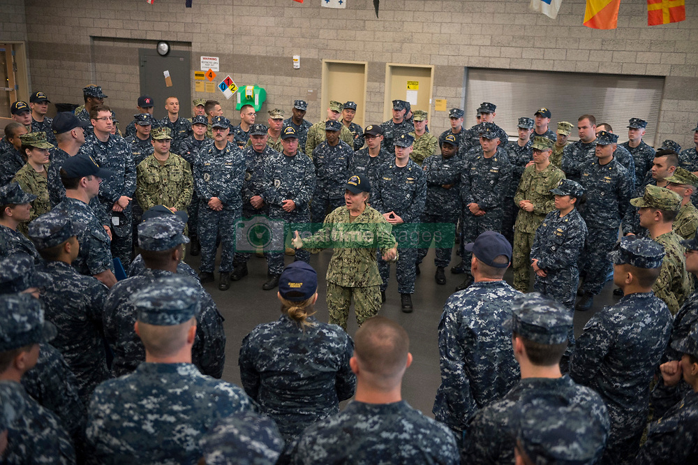INDIANAPOLIS (May 20, 2017) Rear Admiral Linda Wackerman, deputy commander, U.S. Naval Forces Southern Command, visits with Sailors from Navy Operational Support Center (NOSC) Indianapolis during an Admirals Call. Wackerman who also serves as the flag mentor for NOSC Indianapolis, held an all-hands call session for E-6 and below Sailors to address upcoming changes and get feedback regarding Navy-related issues. (U.S. Navy photo by Mass Communication Specialist 2nd Class J. Michael Schwartz/Released)170520-N-QP351-079 <br /> Join the conversation:<br /> http://www.navy.mil/viewGallery.asp<br /> http://www.facebook.com/USNavy<br /> http://www.twitter.com/USNavy<br /> http://navylive.dodlive.mil<br /> http://pinterest.com<br /> https://plus.google.com