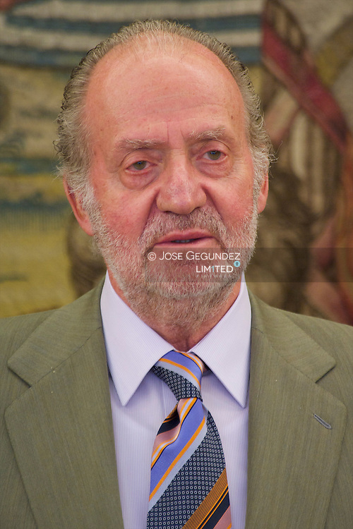 King Juan Carlos of Spain attends an audiences with Trustees and officers of the PricewaterhouseCoopers Foundation, chaired by D. Enrique Fernandez-Miranda y Lozano, on the occasion of its renewal at Zarzuela Palace in Madrid