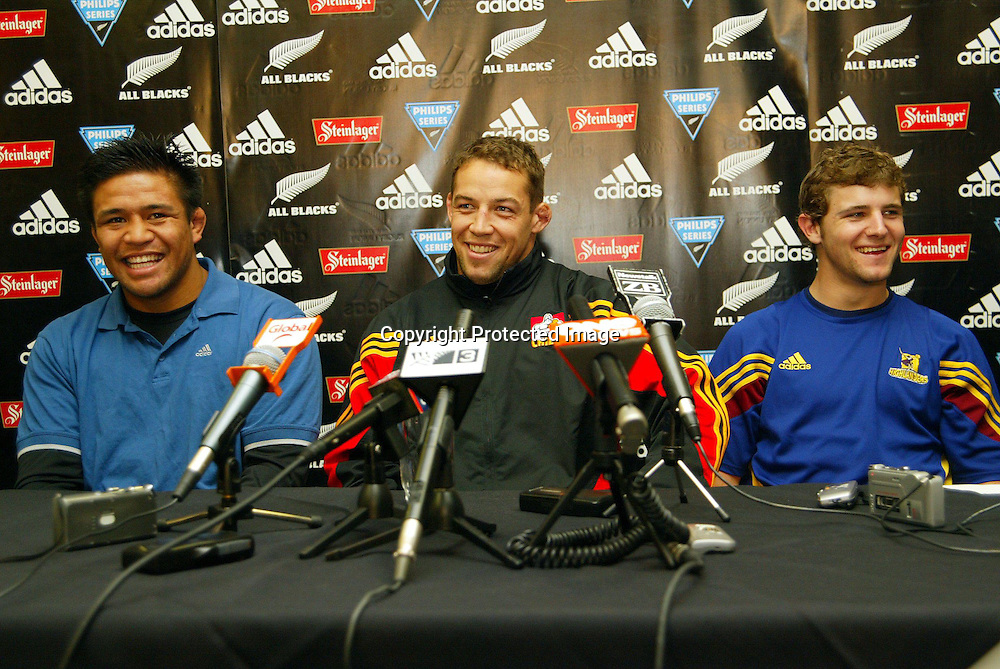 Keven Mealamu, Jono Gibbes and Nick Evans at the Possibles post match press conference following the All Black Trial at Eden Park, Auckland, Tuesday 1 June, 2004. The Probables beat the Possibles, 29 -27.<br />