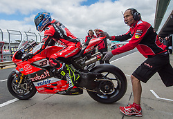 February 25, 2018 - Melbourne, Victoria, Australia - Italian rider Marco Melandri (#33) of Aruba.it Racing - Ducati gets onto his bike during the morning warm up on day 3 of the opening round of the 2018 World Superbike season at the Phillip Island circuit in Phillip Island, Australia. (Credit Image: © Theo Karanikos via ZUMA Wire)