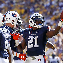 Oct 14, 2017; Baton Rouge, LA, USA; Auburn Tigers running back Kerryon Johnson (21) celebrates after a touchdown against the LSU Tigers during the second quarter of a game at Tiger Stadium. Mandatory Credit: Derick E. Hingle-USA TODAY Sports