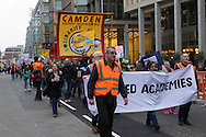 Teachers march along Victoria Street in Westminster, London, on their way to a rally against Education Secretary Nicky Morgan's proposal that all schools be turned into academies.<br /> Picture by Paul Davey/Focus Images Ltd +447966 016296<br /> 23/03/2016