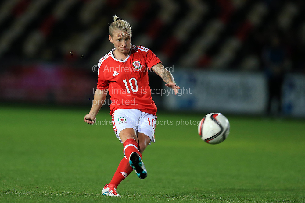 Jessica Fishlock  of Wales in action. Friendly International Womens football, Wales Women v Republic of Ireland Women at Rodney Parade in Newport, South Wales on Friday 19th August 2016.<br /> pic by Andrew Orchard, Andrew Orchard sports photography.