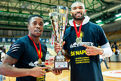 Corin Darius Henry of Sixt Primorska amd Lance Harris of Sixt Primorska celebrate after winning during basketball match between KK Sixt Primorska and KK Hopsi Polzela in final of Spar Cup 2018/19, on February 17, 2019 in Arena Bonifika, Koper / Capodistria, Slovenia. KK Sixt Primorska became Slovenian Cup Champion 2019. Photo by Vid Ponikvar / Sportida