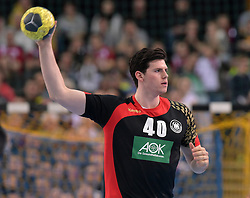 11.03.2016, Leipzig, GER, Handball Länderspiel, Deutschland vs Katar, Herren, im Bild Simon Ernst (GER #40) // during the men's Handball international Friendlies between Germany and Qatar in Leipzig, Germany on 2016/03/11. EXPA Pictures © 2016, PhotoCredit: EXPA/ Eibner-Pressefoto/ Modla<br /> <br /> *****ATTENTION - OUT of GER*****
