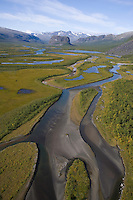 Aerial view over Laitaure delta, Sarek National Park, Laponia World Heritage Site, Sweden