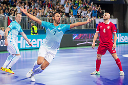 Gasper Vrhovec of Slovenia celebrate during futsal match between Slovenia and Serbia at Day 1 of UEFA Futsal EURO 2018, on January 30, 2018 in Arena Stozice, Ljubljana, Slovenia. Photo by Ziga Zupan / Sportida
