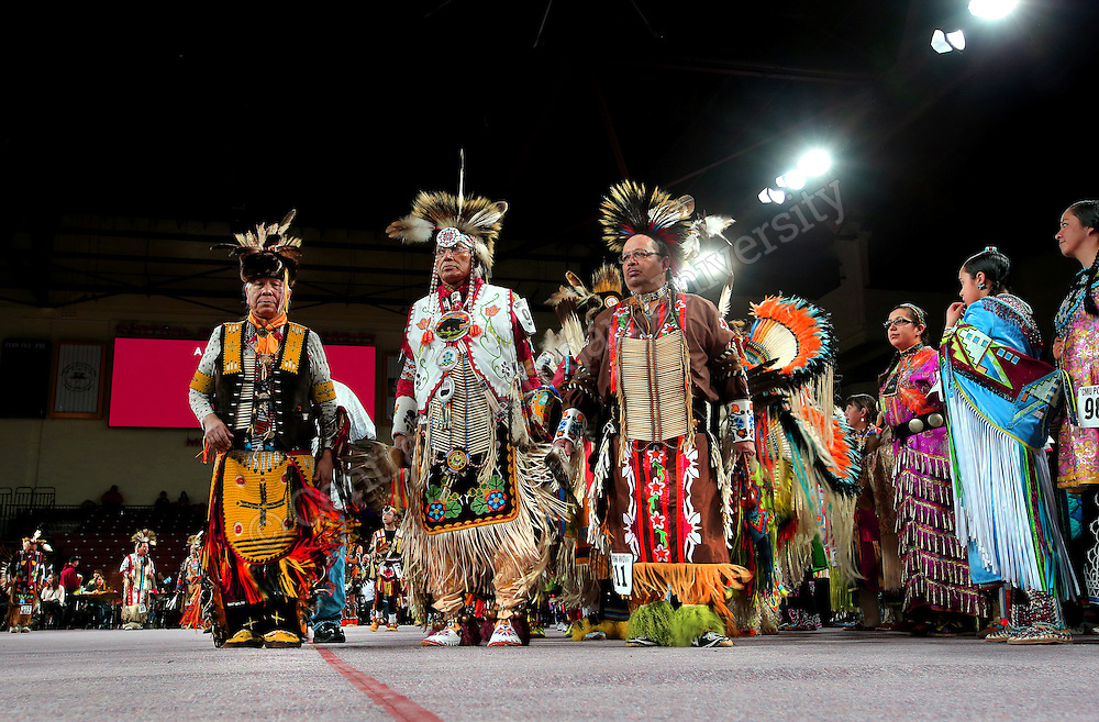 "Central Michigan University's 25th Annual ""Celebrating Life"" Pow wow took place  Saturday, March 22, and Sunday, March 23, in the CMU Events Center. Pow wows feature the singing, dancing and cultural activities of Native American people. Participants wear their regalia, which is traditional Native American clothing. In addition to dancing, there are Native American food and craft vendors at the event.  Photo by Steve Jessmore/Central Michigan University"