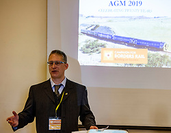 Pictured: Campaign Chairman, Simon Walton<br /> <br /> The Campaign for Borders Rail 20th Anniversary Annual<br /> General Meeting. Opening address from Christine Grahame MSP, a regular user of the service, gave the opening address<br /> <br /> Ger Harley | EEm 8 October 2019