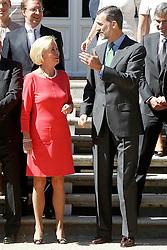 26.05.2015, Palacio de la Zarzuela, Madrid, ESP, Felipe VI von Spanien trifft deutsche Geschäftsmänner, im Bild Felipe VI of Spain // attends in audience to Ms. Liz Mohn, president of the Bertelsmann Foundation, along with a delegation of German businessmen Palacio de la Zarzuela in Madrid, Spain on 2015/05/26. EXPA Pictures © 2015, PhotoCredit: EXPA/ Alterphotos/ Acero<br /> <br /> *****ATTENTION - OUT of ESP, SUI*****