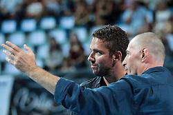 Rolando Pusnik and Borut Puc at ceremony for Hram Slovenskih Sportnih Junakov during handball match between RK Celje Pivovarna Lasso and RD Koper 2013 of Super Cup 2016, on August 27, 2016 in SRC Marina, Portoroz / Portorose, Slovenia. Photo by Matic Klansek Velej / Sportida