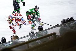 17.02.2015, Hala Tivoli, Ljubljana, SLO, EBEL, HDD Telemach Olimpija Ljubljana vs EC KAC, 4. Qualification Round, in picture Andrej Hebar (HDD Telemach Olimpija, #84) and Oliver Setzinger (EC KAC, #51) during the Erste Bank Icehockey League 4. Qualification Round between HDD Telemach Olimpija Ljubljana and EC KAC at the Hala Tivoli, Ljubljana, Slovenia on 2015/02/17. Photo by Morgan Kristan / Sportida