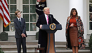 President Donald Trump and First Lady  Melania Trump and First son Baron Trump participate in the  pardon of the Thanksgiving turkey in the rose Garden on November 21,2017<br /> Photo by Dennis Brack