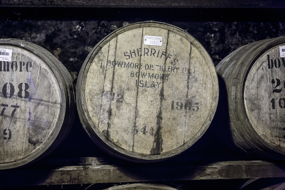 Barrels at Bowmore Distillery in Bowmore, Isle of Islay, Scotland, July 15, 2015. Gary He/DRAMBOX MEDIA LIBRARY