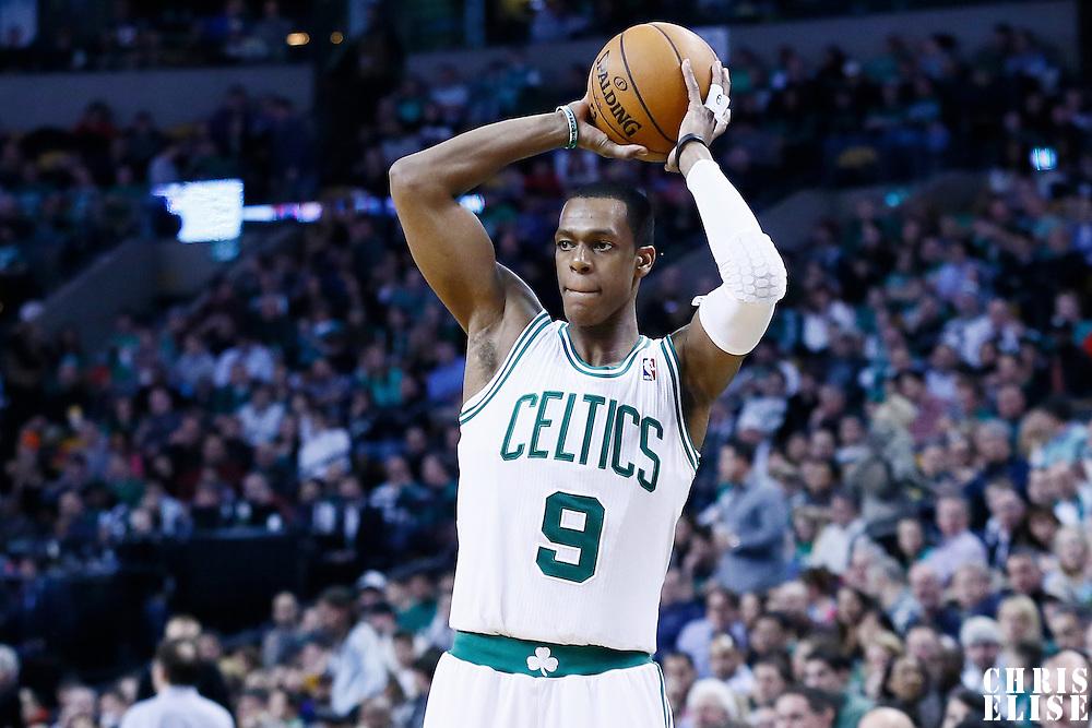 11 January 2013: Boston Celtics point guard Rajon Rondo (9) looks to pass the ball during the Boston Celtics 103-91 victory over the Houston Rockets at the TD Garden, Boston, Massachusetts, USA.
