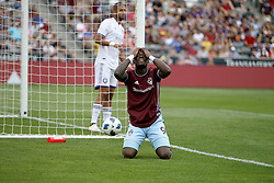 April 29, 2018 - Commerce City, Colorado - Colorado Rapids forward Yannick Boli (9) reacts to missing an open goal shot by inches in the second half of action in the MLS soccer game between Orlando City SC and the Colorado Rapids at Dick's Sporting Goods Park in Commerce City, Colorado (Credit Image: © Carl Auer via ZUMA Wire)
