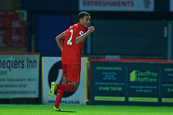 STEVENAGE, ENGLAND - Monday, September 19, 2016: Liverpool's Trent Alexander-Arnold celebrates scoring the fourth goal against Tottenham Hotspur during the FA Premier League 2 Under-23 match at Broadhall. (Pic by David Rawcliffe/Propaganda)