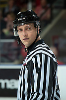 KELOWNA, BC - JANUARY 8: Line official Jade Portwood stands at center ice to drop the puck between the Kelowna Rockets and the Victoria Royals at Prospera Place on January 8, 2020 in Kelowna, Canada. (Photo by Marissa Baecker/Shoot the Breeze)