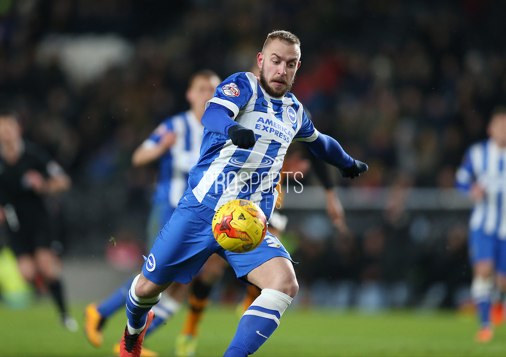 Brighton striker Jiri Skalak (38) shoots during the Sky Bet Championship match between Hull City and Brighton and Hove Albion at the KC Stadium, Kingston upon Hull, England on 16 February 2016.
