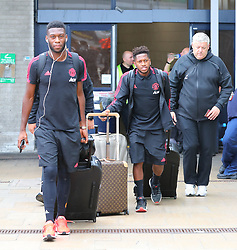 Timothy Fosu-Mena (left) and Fred is spotted at the Manchester Airport, UK as the Manchester United Football Club return from their USA Pre-Season tour on July 1, 2018.