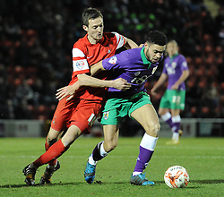 Bristol City's Derrick Williams jostles for the ball with Leyton Orient's David Mooney - Photo mandatory by-line: Dougie Allward/JMP - Mobile: 07966 386802 - 03/03/2015 - SPORT - football - Leyton - Brisbane Road - Leyton Orient v Bristol City - Sky Bet League One