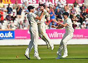 Tied match - Drama as Tom Bailey of Lancashire is jumped on by Liam Livingstone of Lancashire with Graham Onions of Lancashire after taking the catch to dismiss Jack Leach of Somerset to tie the macth during the Specsavers County Champ Div 1 match between Somerset County Cricket Club and Lancashire County Cricket Club at the Cooper Associates County Ground, Taunton, United Kingdom on 5 September 2018.