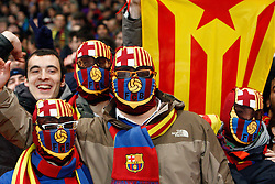 16.02.2011, Emirates Stadium, London, ENG, UEFA CL, FC Arsenal vs FC Barcelona, im Bild Barcelona fans   in Arsenal vs Barcelona for the UCL  ,Round of last 16, at the Emirates Stadium in London on 16/02/2011, EXPA Pictures © 2011, PhotoCredit: EXPA/ IPS/ Kieran Galvin +++++ ATTENTION - OUT OF ENGLAND/GBR and France/ FRA +++++