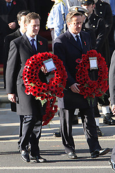 Nick Clegg and David Cameron at the Remembrance Sunday service held at The Cenotaph in London, Sunday, 13th November 2011. Photo by: Stephen Lock / i-Images