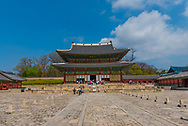 Seoul, Soth Korea--April 6, 2016  -- Wide angle photo of tourists visiting a South Korean  Palace Complex in Seoul. Editorial Use Only.