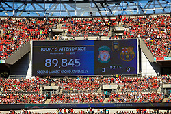 LONDON, ENGLAND - Saturday, August 6, 2016: Wembley's second largest attendance since the re-build, a crowd of 89,845 watch Liverpool defeat Barcelona 4-0, during the International Champions Cup match at Wembley Stadium. (Pic by David Rawcliffe/Propaganda)