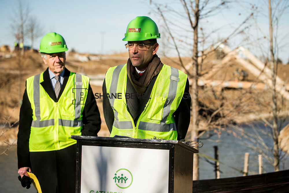 1/12/18 11:09:13 AM -- Halliburton CEO Jeff Miller and George Kaiser visit the Gathering Place for a press conference announcing Halliburton's support for the park. <br /> <br /> Photo by Shane Bevel