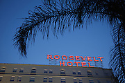 Los Angeles, April 9 2012- Roosevelt hotel by night on Hollywood Boulevard.