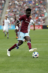 April 29, 2018 - Commerce City, Colorado - Colorado Rapids forward Dominique Badji (14) handles the ball in the corner of the pitch in the second half of action in the MLS soccer game between Orlando City SC and the Colorado Rapids at Dick's Sporting Goods Park in Commerce City, Colorado (Credit Image: © Carl Auer via ZUMA Wire)