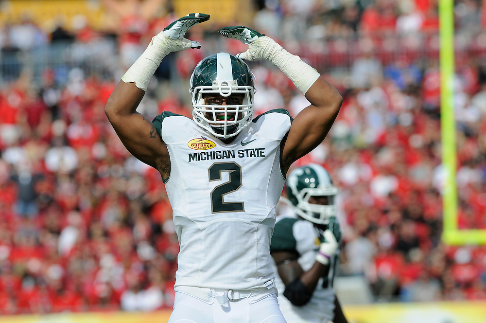 January 2, 2012: William Gholston of Michigan State in action during the NCAA football game between the Michigan State Spartans and the Georgia Bulldogs at the 2012 Outback Bowl at Raymond James Stadium in Tampa, Florida. The Spartans defeated the Bulldogs 33-30.