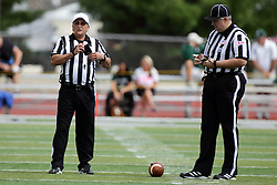 19 September 2015:  Referee Dave Wallace and Umpire Jeff Conrad during an NCAA division 3 football game between the Simpson College Storm and the Illinois Wesleyan Titans in Tucci Stadium on Wilder Field, Bloomington IL