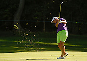 Jul 10, 2015; Lancaster, PA, USA; Angela Stanford makes a shot on the thirteenth hole during the second round of the U.S. Women's Open at Lancaster Country Club.