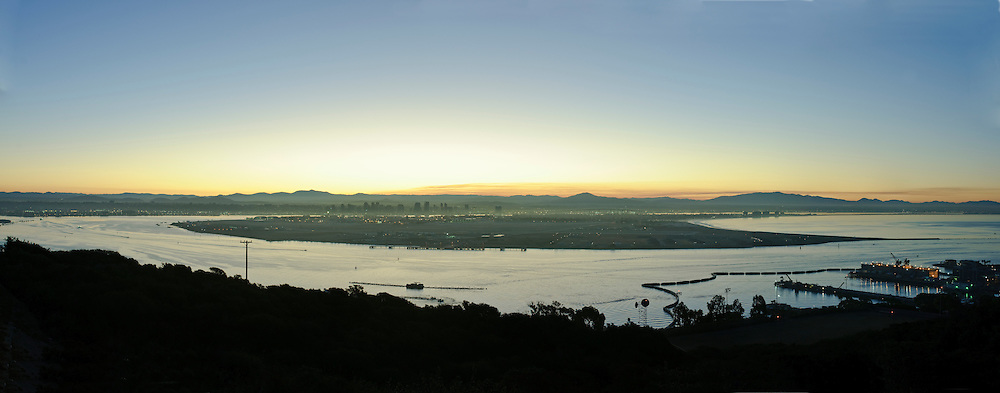 California, San Diego, Skyline and Harbor sunrise, panorama