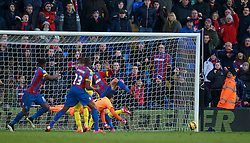 LONDON, ENGLAND - Saturday, February 21, 2015: Crystal Palace's Glenn Murray [hidden] sees his injury time header hit the Arsenal post during the Premier League match at Selhurst Park. (Pic by David Rawcliffe/Propaganda)